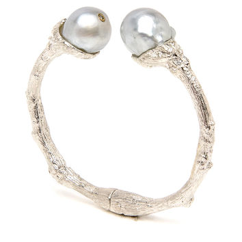 Sterling Silver South Sea Pearl Twig Cuff