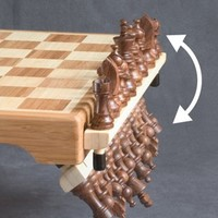 HoldenArt Magnetic Bamboo Chess Set w/ Hinging Shelves