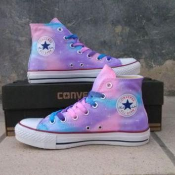 DCCK1IN painted shoes converse gradient sky hand painted shoes girls custom galaxy starry sky