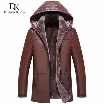 Wool Leather Hooded Shearling Jacket Men Dusen Klein Brand Genuine Sheepskin Wool Liner Men Luxury Coats 71A1803