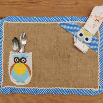 Burlap Placemat Set Rustic Placemat Ruffled Placemat Owl Placemats With Pocket And Napkin Holder Kids Placemat Custom Order Placemat