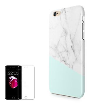 iPhone 6 6S Case (4.7 inch) Obbii Unique Tiffany Marble Design Hybrid Slim Hard Shell+ Inner TPU Protective Durable Cover Case Built-in Clear Screen Protector for iPhone 6/6S