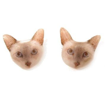 Realistic British Shorthair Kitty Cat Face Shaped Animal Resin Stud Earrings