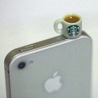 Kawaii STARBUCKS TEA Iphone Earphone Plug/Dust Plug - Cellphone Headphone Handmade Decorations