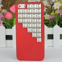 Red Hard Case Cover With Silvery Stud for Apple iPhone5 Case, iPhone 5 Cover,iPhone 5 Case, iPhone 5g