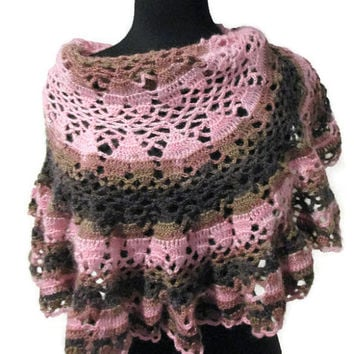 Upside down hearts ruffled caplet, ruffled scarf in pinks and browns