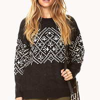 LOVE 21 Essential Fair Isle Sweater Black/Ivory