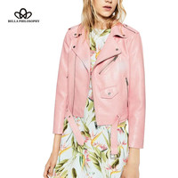 Bella Philosophy new  PU leather women pink motor jacket coat zipper