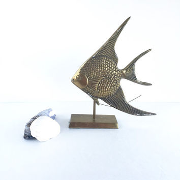 Vintage Brass Angefish on Stand