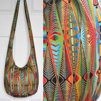 Hobo Bag Cross Body Bag Hippie Purse Sling Bag Hobo Purse Boho Bag Bohemian Purse Geometric Metallic Hobo Bag Slouchy Bag Handmade Purse