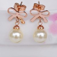 Bowtie and Pearl Earrings for Women by forevervintage on Zibbet