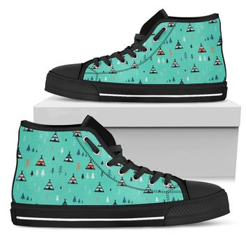 Wild And Free Boho Tribal Tent Pattern Camping High Top Shoes