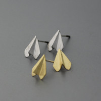 Paper Airplane Silver studs earrings, Airplane Earrings  - Available color as listed ( Silver, Gold )