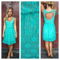 Teal Lace Open Back Nikki Dress