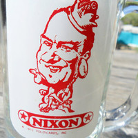Vintage Nixon Glass Beer Mug From Shakeys 1972 / Political Collectable