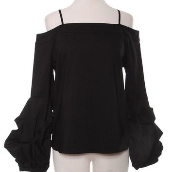 Off Shoulder Romantic Tapered Blouse With Bishop Sleeves Top