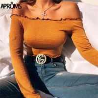 Aproms 2017 Fashion Slash Neck Ruffles Tank Tops Sexy Off Shoulder Women Crop Top Knit Short Tees Autumn Casual Streetwear Camis