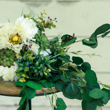 Silk Succulent Rustic Wedding Bouquet - w/ Poppy, Mum, and Ranunculus - Silk Bouquet