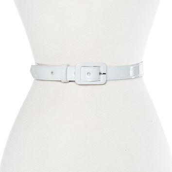 1 Patent Vinyl Belt in White