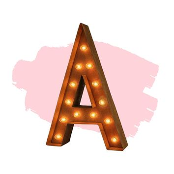 "24"" Letter A Lighted Vintage Marquee Letters (Modern Font/Rustic)"