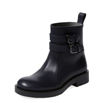Double Buckle Leather Bootie