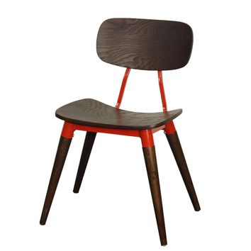 Arlo Mid Century Modern Dining Side Chair - Espresso / Red