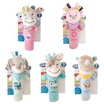 Baby Rattles Mobiles BB Sticks Soft Cow Plush Doll Baby Newborns Creative Crib Bed Hanging Hand Catches Animal Toy Doll Kids Toy