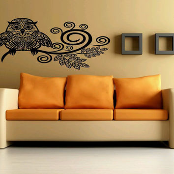 Wall Decor Vinyl Sticker Room Decal Art Tribal Funny Abstract Owl Bird Tree 914