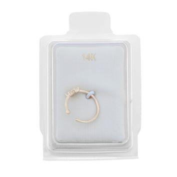 14K Yellow Gold Cubic Zirconium Flower Open Hoop Nose Ring 20G