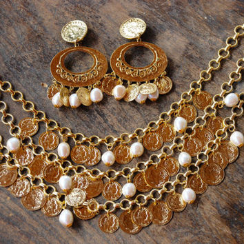 Vintage Gem-Craft Necklace Clip On Earrings French Soldier Coin Faux Pearl Multi Chain Gold Tone 1980's // Vintage Designer Costume Jewelry
