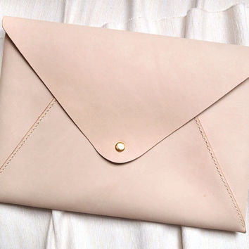 Personalized iPad Mini Case in Envelope Clutch  - Leather - Nude - Harlex Hand Stitched