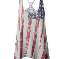 Tommy Hilfiger Cailyn american flag tank top Grey - House of Fraser