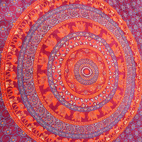 MAROON ELEPHANT Mandala Cotton Wall Tapestry Bohemian Hippie Boho Wall Hanging Tapestries Throw Bed Bedspread Mandala Bedding Home Decor Art