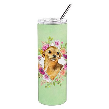 Chihuahua #1 Green Flowers Double Walled Stainless Steel 20 oz Skinny Tumbler CK4288TBL20