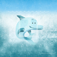 Underwater Blue Dolphin 8x8 Wall Art Decor Room Print by Caramel Expressions