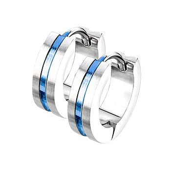 Thin Blue Line Hoop Earrings - Blue IP Center Surgical Grade Stainless Steel Hoop Earrings with Brushed Surface