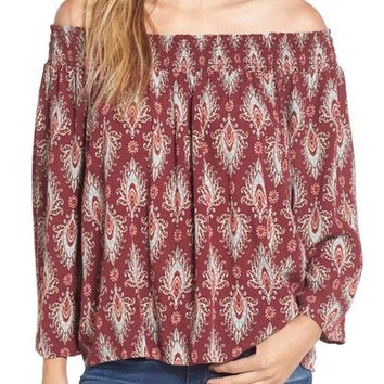 Ten Sixty Sherman Print Off the Shoulder Top | Nordstrom