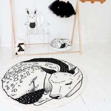 READY MADE Sleepy Fawn / Deer Hand Printed Organic Play Mat / Floor Rug / Nursery Decor Basic