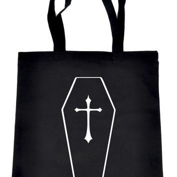 Toe Pincher Coffin w/ Cross Tote Book Bag School Horror Casket