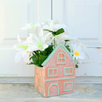 House shaped terracotta pot, planter, decoupaged, mothers day gift, spring summer home decor