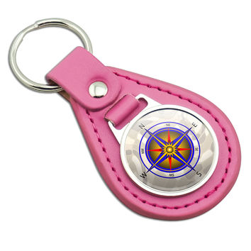 Compass Nautical North South East West Pink Leather Keychain