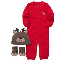Carter's Neutral 3 Piece Reindeer Set with Red Coverall, Hat and Socks