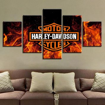 Harley-Davidson Real True Fire Flames Tank Logo 5 Panel Print Poster