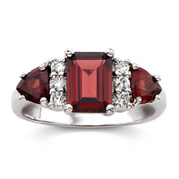 2.5-Carat Genuine Garnet 3-Stone Ring