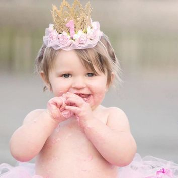 Baby First Birthday Hat Girl Princess Crown 1 Years Old Party Hat Glitter Birthday Headband Newborn Photography Props