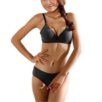 Women Bra Set Seamless Wire free Push-Up Padded Bras + Briefs Underwear Lingerie 32 34 36 B Cup