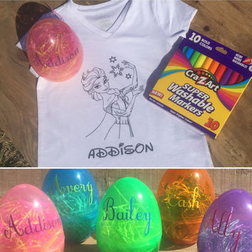 Kids coloring tshirts with personalized Easter egg, unisex kids coloring shirts, coloring shirts, Easter gifts, kids easter, easter shirts