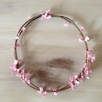 White or pink thin flower crown headband