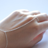 Slave bracelet - hand chain ring delicate Sterling Silver chain hand bracelet