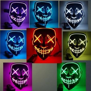 Halloween LED Light Up Mask Party Cosplay Masks The Purge Election Year Great Funny Masks Festival Glow In Dark Costume Supply